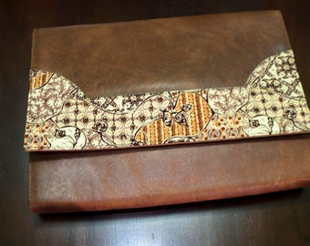 Leather Clutch with Batik
