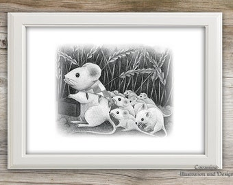 Artprint mouse family limited edition