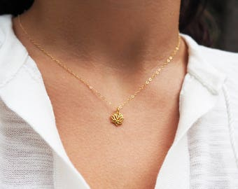 Tiny Lotus Necklace, Yoga Necklace, Gold Lotus Necklace
