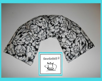 Microwavable Heating Pad, Neck Warmer, Rice Heating Pad, Flax Seed Heating Pad, Black White Flowers, Sunny Heat Pack