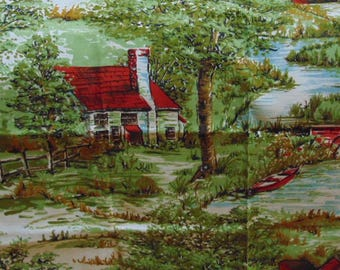 Country Scene Fabric ,Vtg Barkcloth ?, Red Barns, Cottage,Trees, Wall Hanging, Cushion