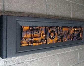 Industrial wall art 6x23. Art for men techies guys boyfriends husbands. Found object junk art. Office sculpture assemblage computer parts.