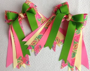 Bowdangles Horse Show Hair Bows/Lilly Inspired Equestrian clothing/pink green yellow