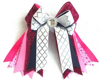 Equestrian Hair Bows/Beautiful Gift/Pink Glitter Sparkle Gem