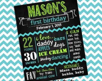 First Birthday Chalkboard, Birthday Chalkboard Poster, Photo Prop Chevron Lime Green Blue Custom DIY Digital Printable