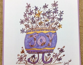JOY Flower Pot Note card