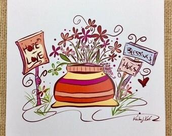 Hope, Love, Blessings & Hugs Notecard