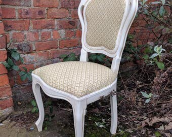 Hand painted French Louis bedroom/ dining chair in Annie Sloan's Old White with cute green and yellow country style fabric