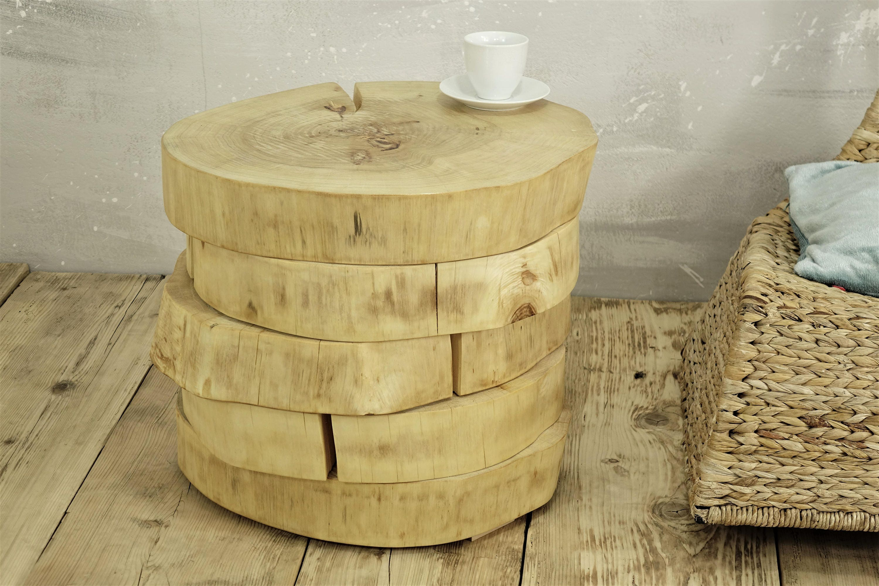 tree slabs side table wooden slices side table table tree trunk table on rolling casters natural colour baumstamm tisch hocker holz