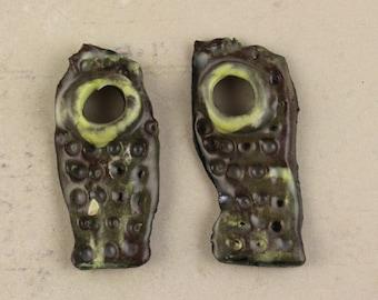 Handmade ceramic art charms earrings dangles glaze