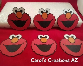 "6  3"" Elmo Die Cuts / Elmo Birthday Party / Sesame Street Die Cuts /   Child Birthday Party / Elmo Scrapbook Supply"