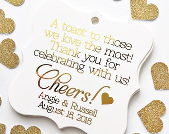 A Toast To Those We Love The Most Foiled Wedding Tags, Foiled Wedding Tags, Custom Gold Foil Wedding Favor Tags (FS-072-F)