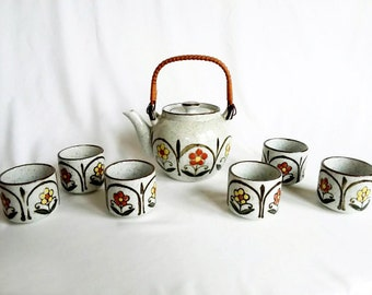 Vintage 1970s Otagiri Teapot and Six Cups / Orange and Yellow Floral / Speckled