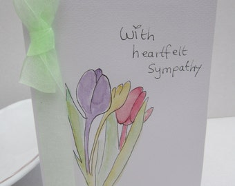 Heartfelt Sympathy, watercolour card, sympathy card, condolences card, sympathy flowers,  handpainted card, handmade card, flower card