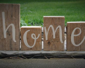 rustic home decor home blocks set rustic mantle decor reclaimed wood letters salvaged farmhouse decor home sign rustic wedding gift custom