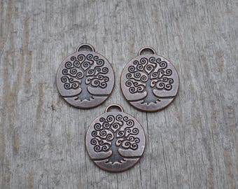 Medium Brass Tree of Life Charm