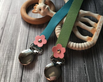 NEW ! Genuine Leather Flower Pacifier Clip, Leather Pacifier Clip ~ Soother Clip, Binky Clip, Dummy Clip, Paci Clip, Universal Pacifier Clip