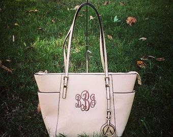 Monogram Purse, Off White Pocketbook, Vegan Leather Monogram Tote Purse, Cream Pocketbook , Designer Inspired Handbag,