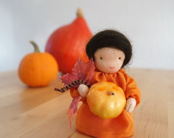 New! Pumpkin Flower Child for the Nature Table of Fall