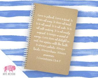 1 Corinthians 13:4-7 Spiral Journal | Spiral Notebook | Writing Gift | BB013LG