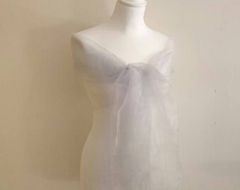 Gray organza clear 70/200 cm wedding shawl ~ Christmas ~ party ~ holiday season ~ ceremony ~ cocktail ~