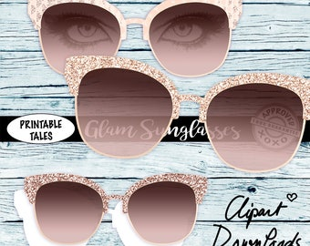 Rose Gold Sunglasses, Clipart Glam Glasses with eyes, transparent glasses, Marble, Brushed Metallic, Glitter, Leather, shiny Textile, RG01