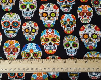 Mexican Skulls Black Cotton Fabric sold by the yard