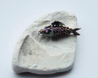 True Vintage Articulated Fish Charm/Pendant - Goldtone/Enamel - Chinese - Purple/Pastel Green