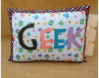 Owl Geek Cushion, Owl Pillow, Geek Chic, Geek Cushion, Geek Home Decor, Gift for Teens, Geeky Cushion, Geeky Gift, Owl Gift, Bedroom Decor