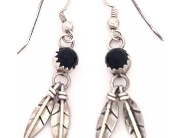 Navajo black onyx feather earrings