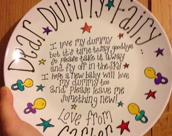 Hand drawn Dear Dummy Fairy 'please collect my dummies' personalised gift plate
