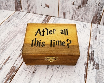After All This Time Always Wedding Ring Bearer Ring Box, Harry Potter Inspired Wedding Ring Box, Wedding Ring Pillow Alternative, Ring Box