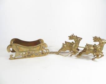 Vintage Brass Reindeer and Sleigh - Brass 4 Christmas Reindeer and Sleigh