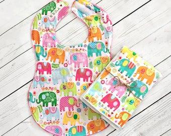 Full Coverage Baby Bib/ Burp Cloth- Michael Miller- Happy Elephants