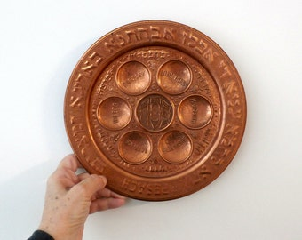 Copper Passover Seder Plate, Hebrew  English Plate, Jewish Holiday, Passover Tray, Vintage Pesach Plate, Copper, Judaica, Haggadah Dish