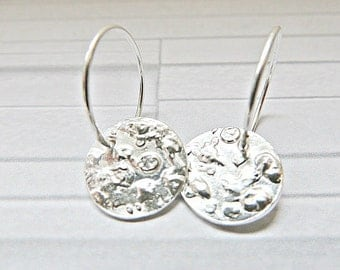 Silver disc earrings, Silver textured charm earrings, Textured silver earrings, Pure silver charms, Ready to ship,  Made in the UK