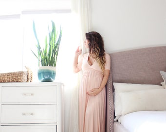 long sleeve Maternity gown baby shower maternity dress - v-neck sleeved babydoll