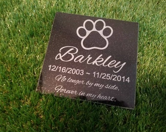 "6"" x 6"" Black Granite Pet Memorial Stone Plaque Personalized Dog Paw-print  Laser engraved"