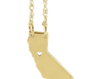 14K Yellow Gold 14k White Gold 14k Rose Gold or 10k Gold or Sterling Silver California CA State Map Necklace Personalized Heart Pierced City