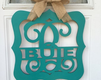 Monogram door hanger, personalized door hanger, front door decor, wedding gift, personalized gift, monogram, name door hanger, custom