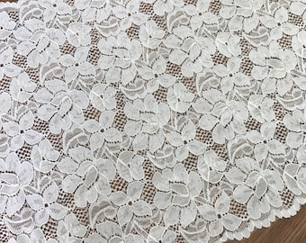 "White Stretch Lace,11.4"" Wide Elastic Lace,Embroidery Floral Lace Trim,Wedding Lace By The Yard"