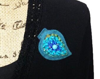 Felted brooch, Felt brooch, Wool felt brooch, Gift for her, Felt jewelry, Leaf pin, Wool felt pin Textile brooch Beaded brooch, Blue jewelry