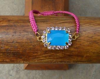Handmade crystals bracelet,Makrame bracelet with crystals,bridal jewelry