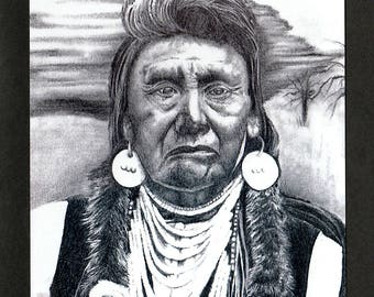 Native American Warrior Greeting Card, 5x7, B&W, Blank Inside, Hand Made, Fine Art, Glossy Photo, All Occasion