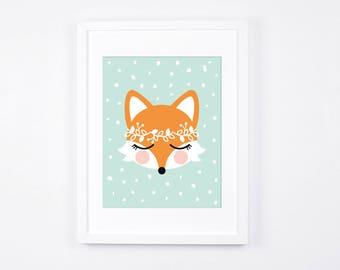Fox Art Illustration, Printable Art for Girls Nursery, Mint and Peach Little Girls Room Decor, Modern Nursery Decor, Woodland Wreath