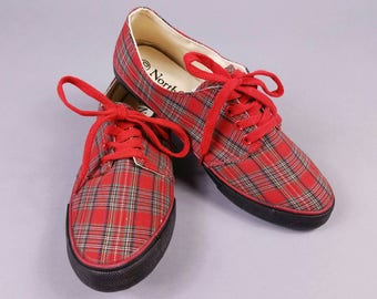 90s Plaid Sneakers Womens Size 10, 90s Schoolgirl Shoes, Red Plaid Tennis Shoes, Vintage Keds Size 9.5