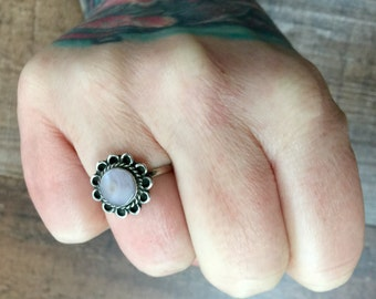 Vintage Mexican mother of pearl + Sterling Silver Ring Size 6.75