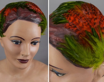 Vintage 50s Hat Feathered Headband Hat Vibrant Green & Red Orange Feathers