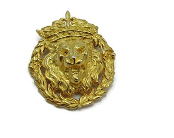 Anne klein Roaring Lion Face with Crown Gold Tone Brooch  Designer Signed Vintage Estate Jewelry Gift Ideas Shawl Scarf Pin 1980s