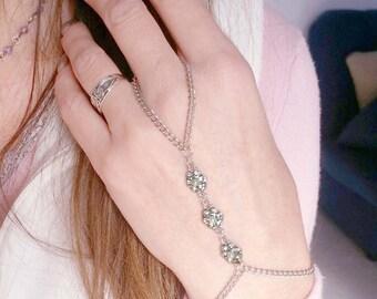 Silver Slave Bracelet Ring Harness Crystal rose